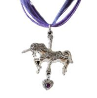 Unicorn Pendant Necklace with Purple Ribbon