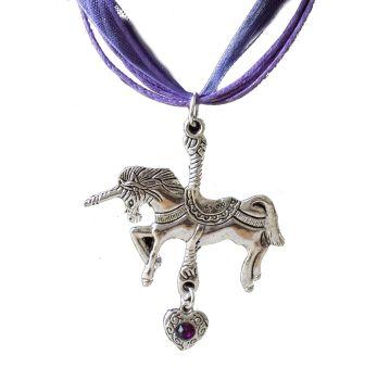 Unicorn Pendant Necklace with Purple Ribbon