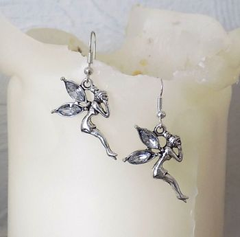Fairy Earrings with Pale Pink Gemstone Detail in Silver Shade