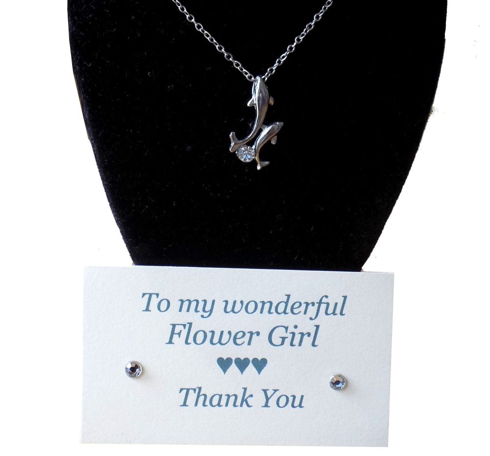 Flower Girl Pendant Necklace Gift - Dolphin