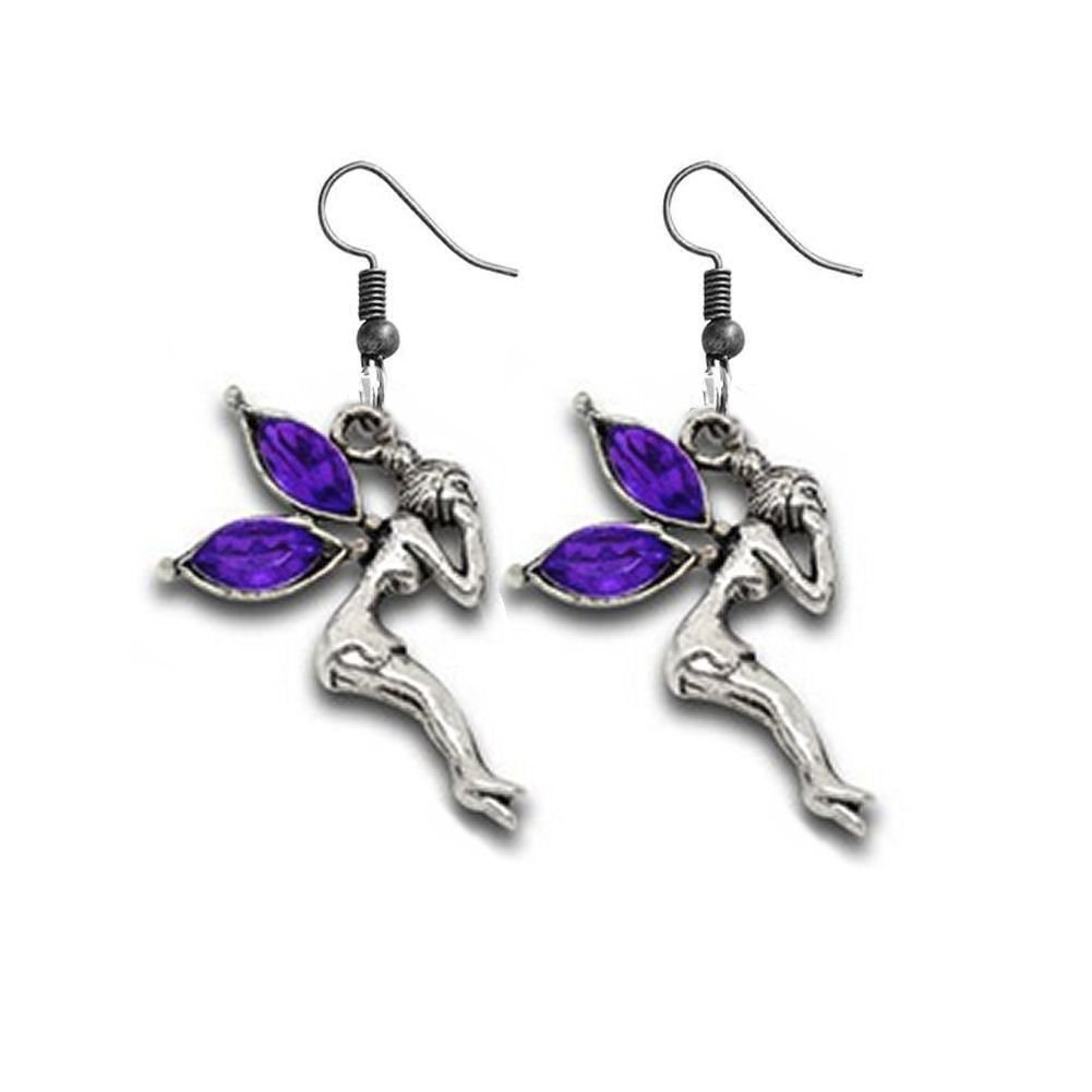 Fairy Earrings with Purple Gemstone Detail in Silver Shade