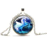 Unicorn Pendant Blue Necklace