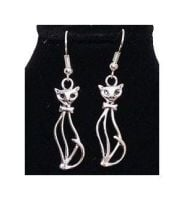Cat Earrings in Silver - Handcrafted