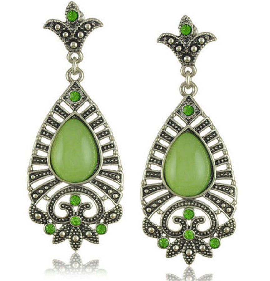 Indian Inspired Earrings with Green Stone
