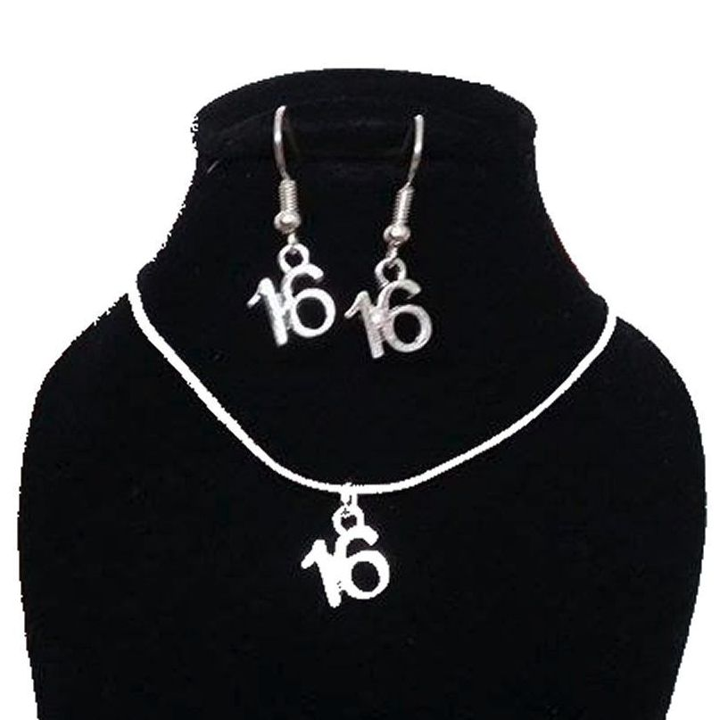16th Birthday Silver Jewellery Earring and Necklace Gift Set