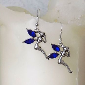 Fairy Earrings with Royal Blue Gemstone Detail in Silver Shade