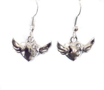 Silver Angel Wings Heart Earrings