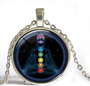 Chakra Round Dome Pendant Necklace