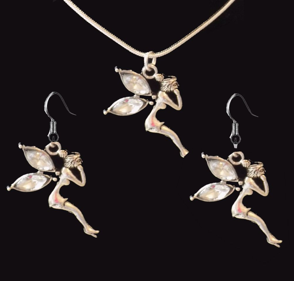 Fairy Earrings and Necklace Gift Set - Crystal Gemstone with Silver Detail