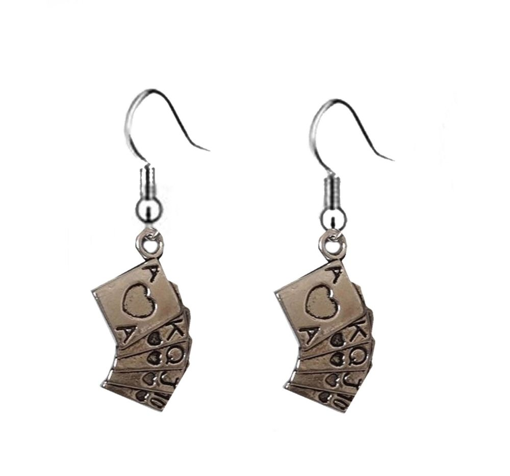 Playing Cards Silver Themed Earrings