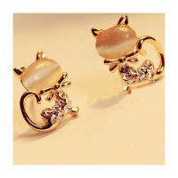 Cat Stud Earrings in Rose Gold