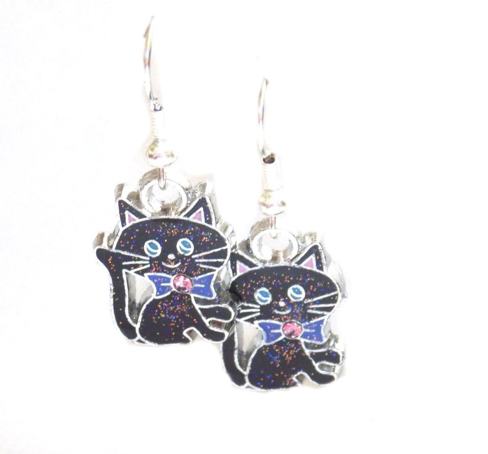 Black Cat Earrings with Sparkly Glitter Detail
