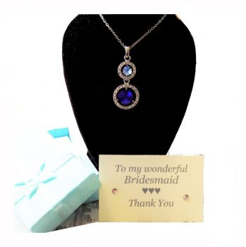 Bridesmaid Heart Pendant Necklace, Thank You Card and Gift Box - Royal Blue