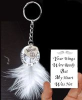 Mum Memorial Keyring with Real White Feather