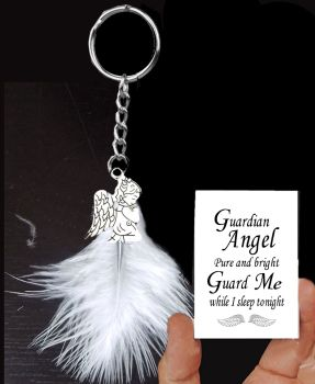 Guardian Angel Sleep Tight Keyring with White Feather