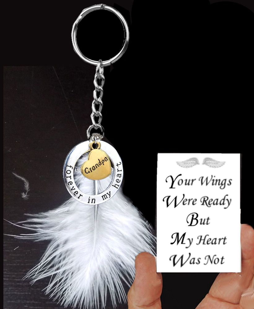 Grandpa Memorial Keyring with Real White Feather