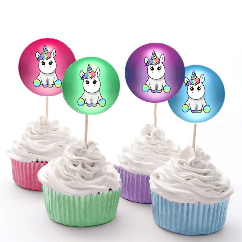 Unicorn Birthday Party Cupcake Cake Fairy Cake Toppers