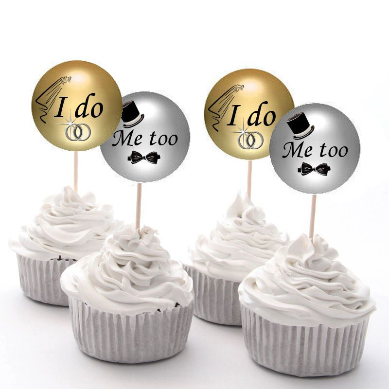 I do, Me too Wedding Cupcake Fairy Cake Toppers