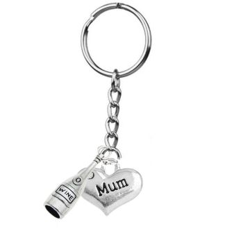 Mum Keyring with Silver Wine Bottle Charm