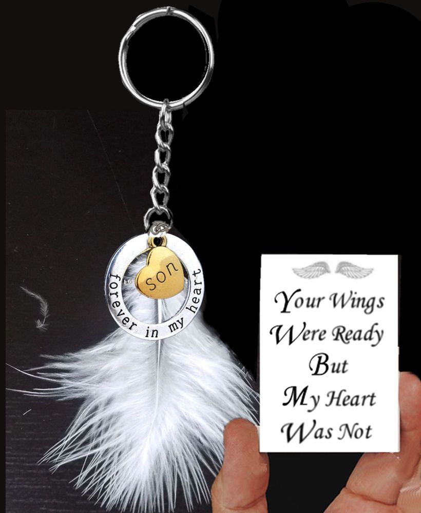 Son Memorial Keyring with White Feather and Charms