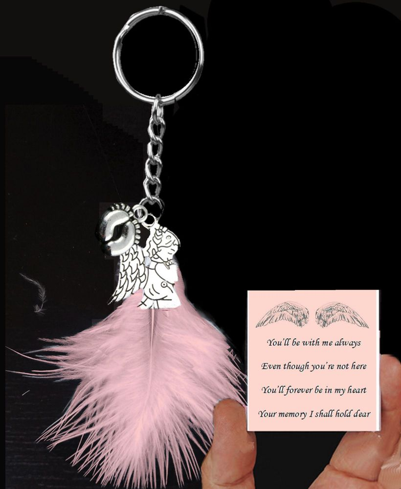Baby Passing Keepsake Keyring in Pink Theme