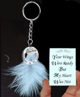 Baby Boy Memorial Keyring with Real Blue Feather