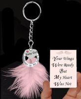 Baby Girl Memorial Keyring with Real Pink Feather