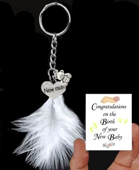 New Baby Keepsake Keyring with Silver Charms and a White Feather