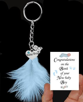 Newborn Baby Boy Keepsake Keyring with Silver Charms and a Blue Feather