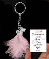Newborn Baby Girl Keepsake Keyring with Silver Charms and a Pink Feather