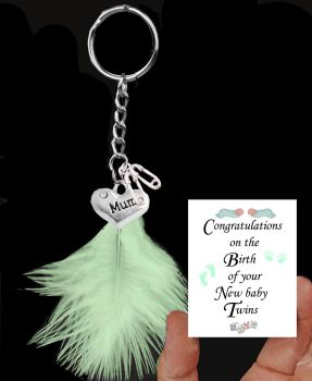 Twins Keepsake Keyring with Silver Charms and a Generic Mint Feather