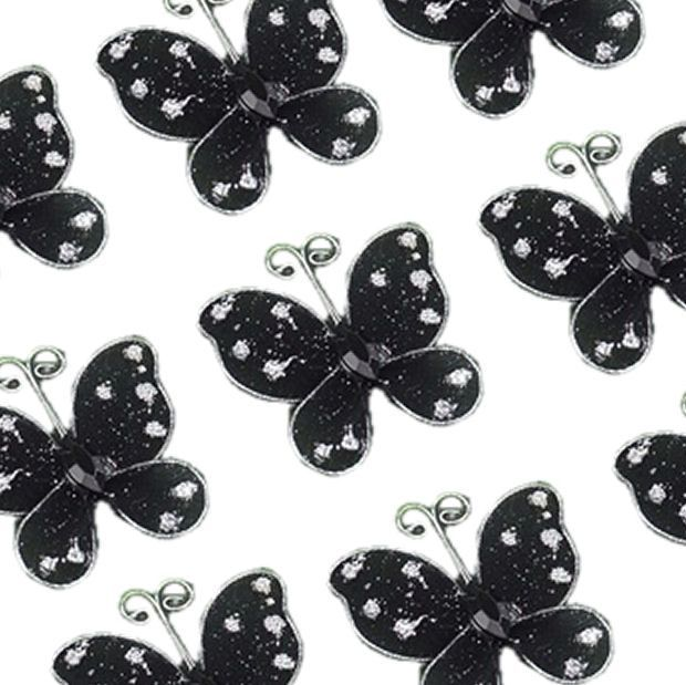 Black Organza Butterfly Embellishments x 8