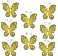 Yellow Organza Butterfly Embellishments x 8