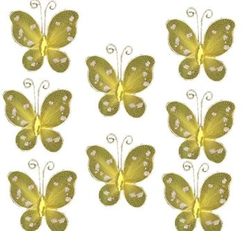 Yellow Organza Butterfly Embellishments x 8