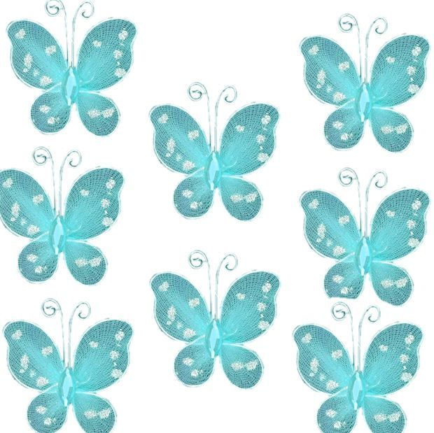 Blue Turquoise Organza Butterfly Embellishments x 8