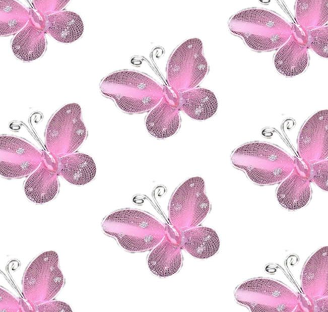 Baby Pink Organza Butterfly Embellishments x 8