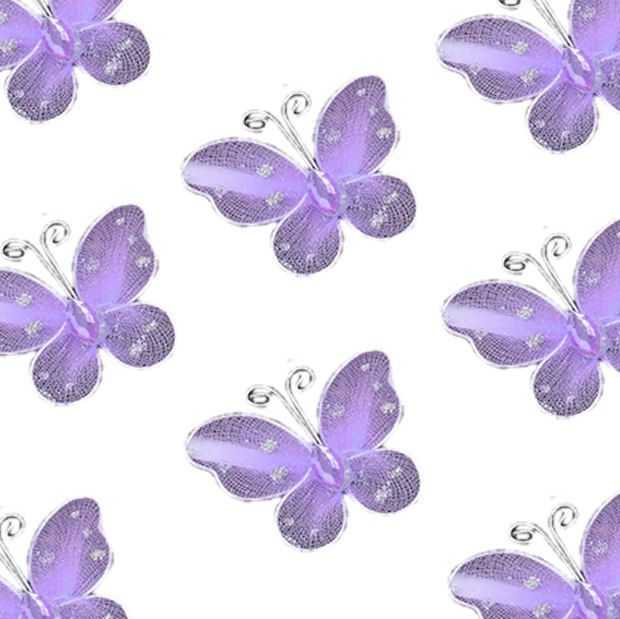 Lilac Organza Butterfly Embellishments x 8