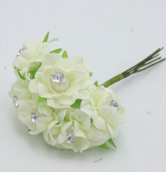 White Craft Flowers with Rhinestone Gem