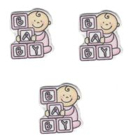 Wooden Baby Girl with Building Blocks Craft Embellishments