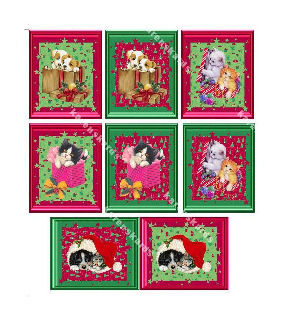Christmas Puppy and Kitten Embellishments Card Toppers