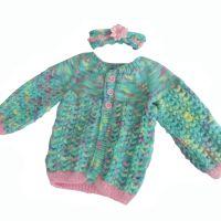 Aqua Mermaid Baby Knitted Coat and Headband Set