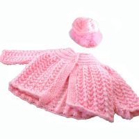 Baby Girl Pink Knitted Coat and Bonnet - 0 to 3 Months