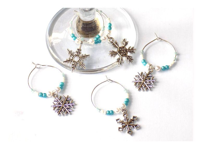 Christmas Snowflake Design Wine Glass Charms