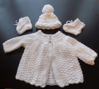 White Baby Matinee Set Knitted Cardiagan, Bonnet and Botties Set, Unisex