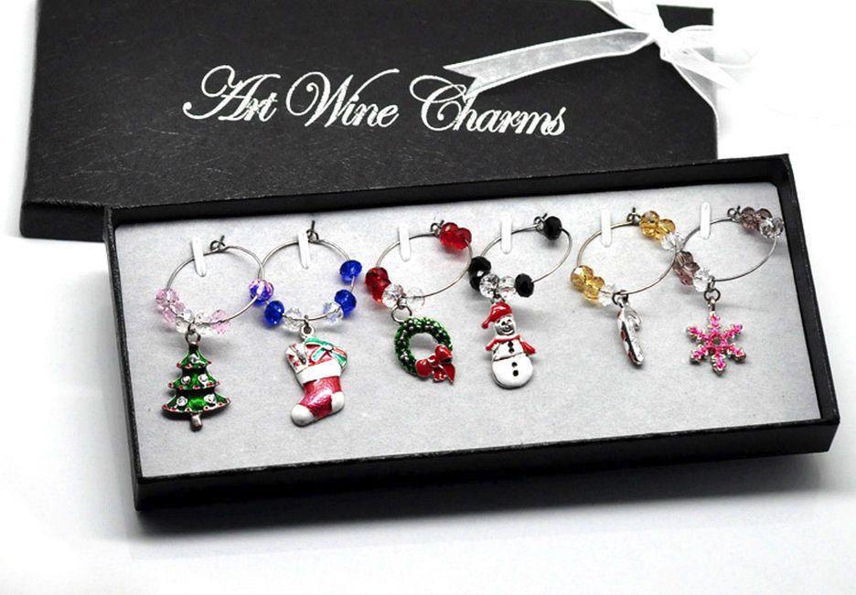 Christmas Gift 6 Wine Glass Charms with Giftbox