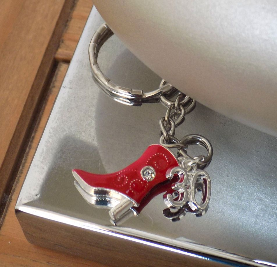 30th Birthday Charm Cowgirl Boot Keyring