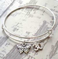 30th Birthday Butterfly and Number Charm Bracelet