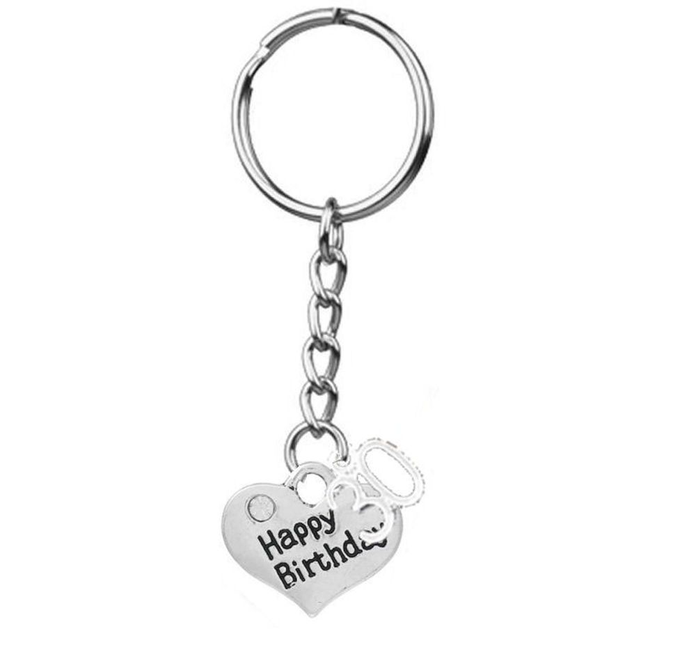 30th Happy Birthday Silver Charm Keyring