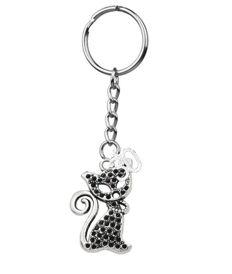 30th Birthday Silver Cat Charm Keyring