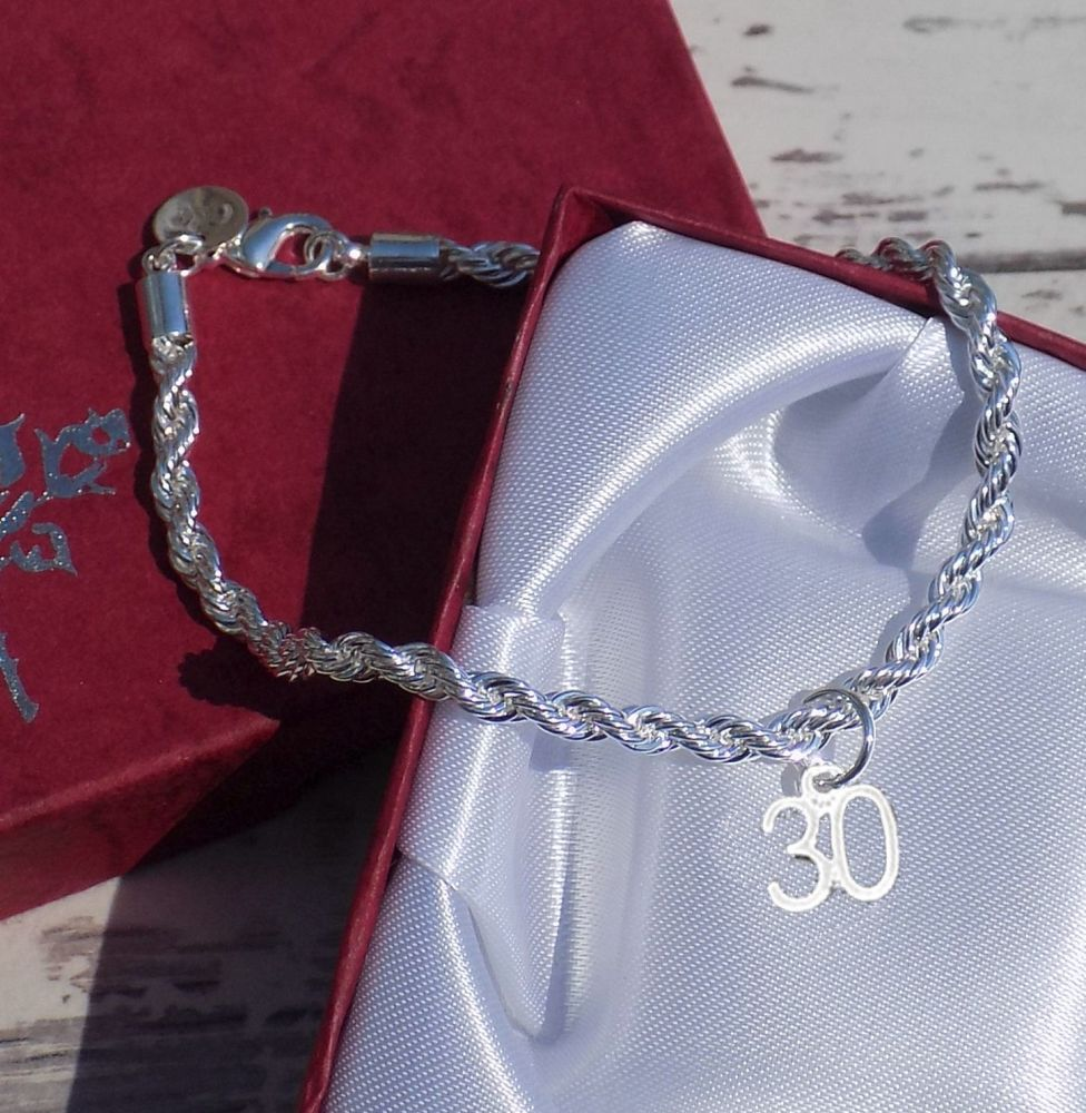 30th Birthday Silver Charm Bracelet